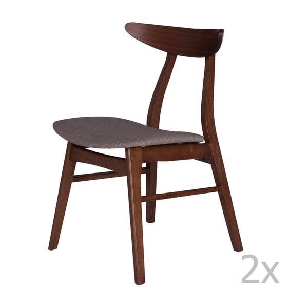 Sada 2 jedálenských stoličiek z kaučukovníkového dreva so sivým podsedákom sømcasa Salma