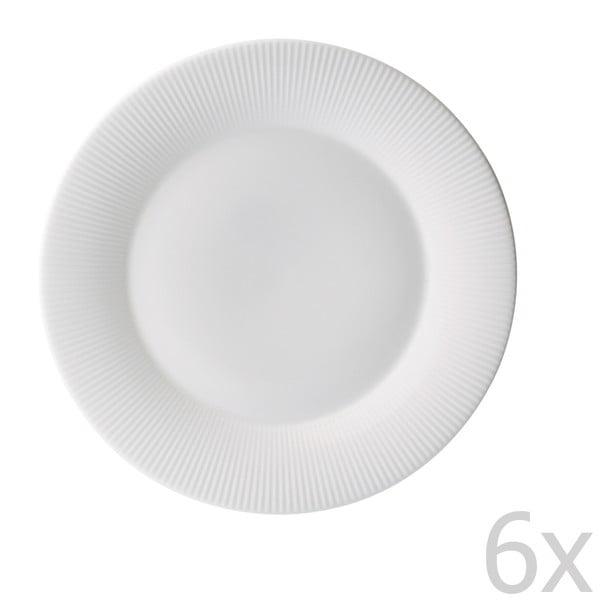 Sada 6 talířů z kostního porcelánu Flute, 21 cm