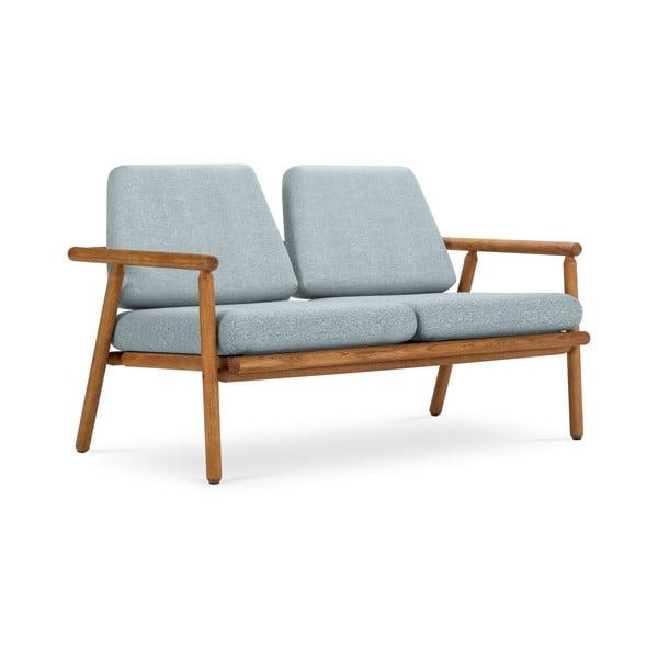 Canapea cu 2 locuri pentru exterior, construcție lemn masiv de salcâm Calme Jardin Capri Premium, albastru deschis