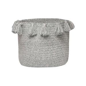 Šedý bavlněný ručně tkaný box Nattiot Lennon, Ø 25 cm