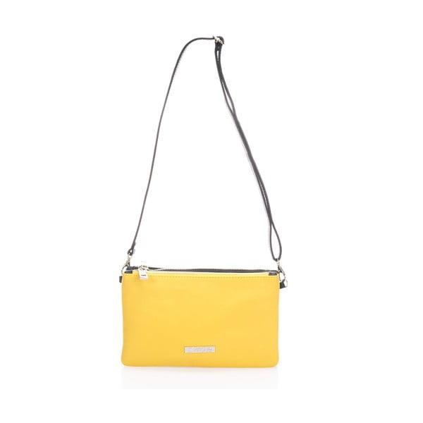 Kožená kabelka Krole Kody se dvěma kapsičkami, žlutá