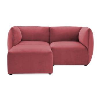 Canapea modulară cu 2 locuri și suport pentru picioare Vivonita Velvet Cube, roșu – roz de la Vivonita