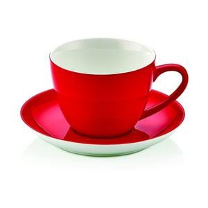 Červený porcelánový hrnek s podšálkem Kirmizi Cay Seti