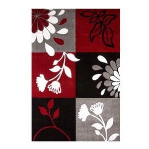 Koberec Black Red Floral, 80x150 cm