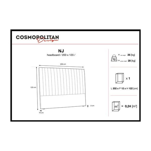 Šedé čelo postele Cosmopolitan design NJ, 200x120cm