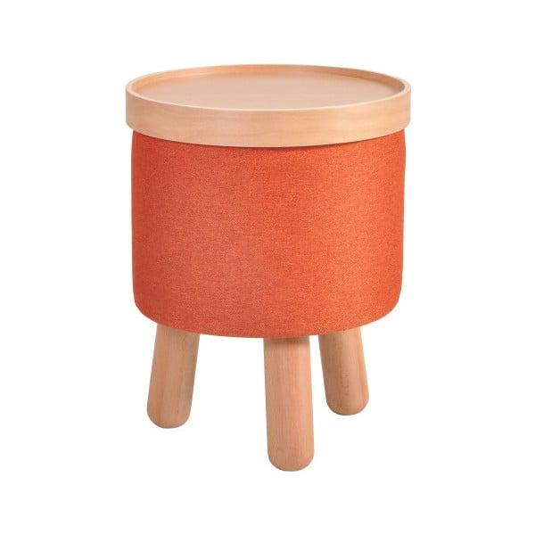 Oranžová stolička s detaily z bukového dřeva a odnímatelnou deskou Garageeight Molde, ⌀35cm