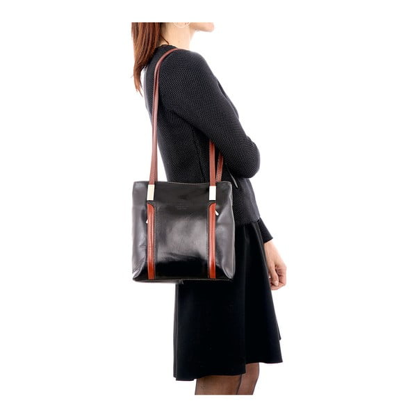 Černo-hnědá kožená kabelka / batoh Glorious Black Zara