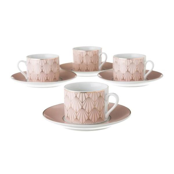 Sada 4 růžových porcelánových hrnečků s podšálky Unimasa Art, 180ml