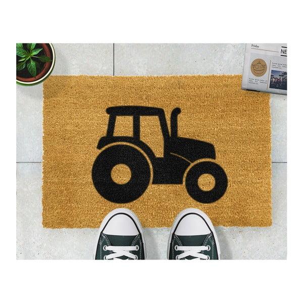 Wycieraczka z naturalnego kokosowego włókna Artsy Doormats Tractor, 40x60 cm
