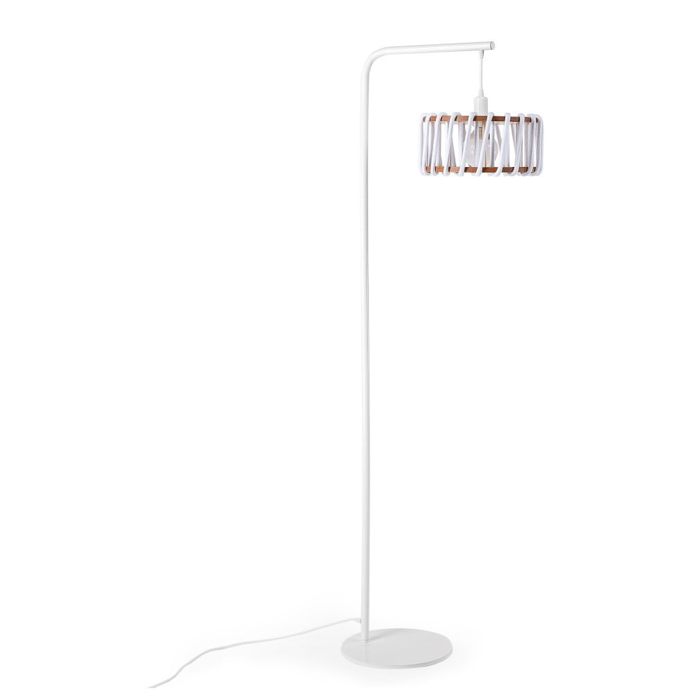 Stojací lampa s bílou konstrukcí a malým bílým stínidlem EMKO Macaron