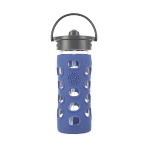 Sticlă de voiaj cu pai, din sticlă, cu protecție din silicon, Lifefactory Cobalt, 350 ml