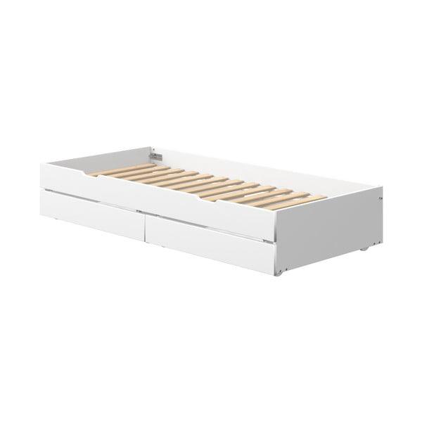 Białe lakierowane dodatkowe łóżko wysuwane pod łóżko dziecięce z 2 szufladami postel Flexa White