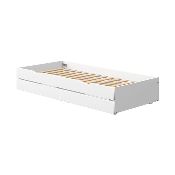 Bílé lakované přídavné výsuvné lůžko s 2 zásuvkami pod dětskou postel Flexa White