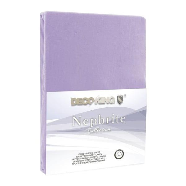 Světle fialové elastické prostěradlo DecoKing Nephrite Violet, 180–200 cm