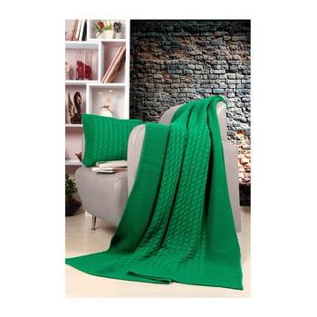 Set pătură și pernă Kate Louise Tricot Sultan, verde de la Kate Louise