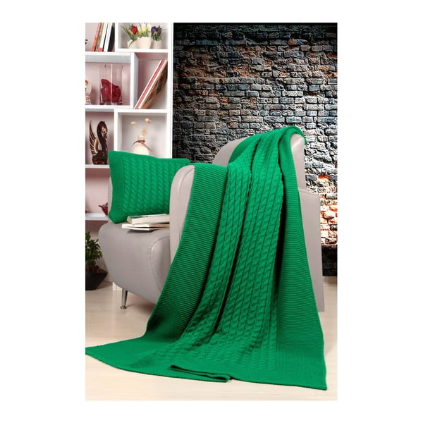Tricot Blanket Set Sultan zöld ágytakaró és párna szett - Kate Louise