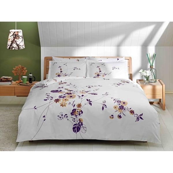 Povlečení Purple, Brown and White s prostěradlem, 200x220 cm