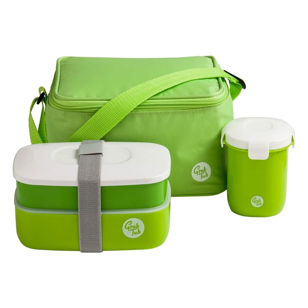 Set zeleného svačinového boxu, hrníčku a tašky Premier Housewares Grub Tub, 21 x 13 cm