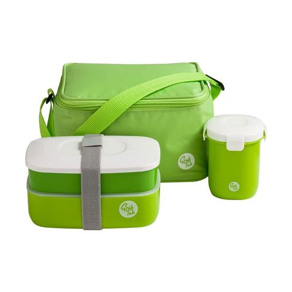 Set husă frigorifică, cutie pentru gustări, pahar Premier Housewares Grub Tub, 21 x 13 cm, verde