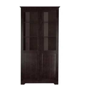 Vitrină cu 2 uși, din lemn masiv de pin Støraa Caroline, maro închis