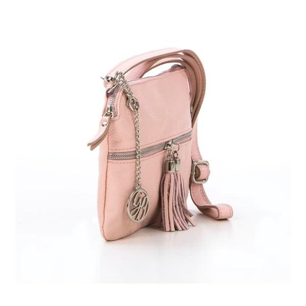 Kožená kabelka Alberto, pudrová
