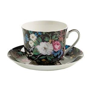 Šálek z kostního porcelánu s podšálkem Maxwell&Williams Midnight Blossom, 460ml
