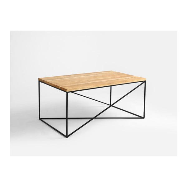 Memo dohányzóasztal fekete lábakal és tölgyfa asztallappal, hosszúság 100 cm - Custom Form