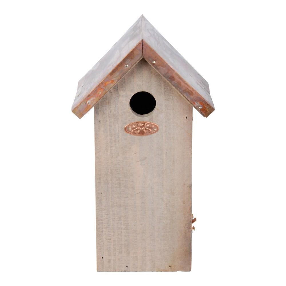 Ptačí budka z borovicového dřeva s měděnou střechou Esschert Design Antik, výška30cm