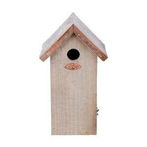 Căsuță din lemn de pin pentru păsări Esschert Design Antik, înălțime 30 cm, acoperiș arămiu