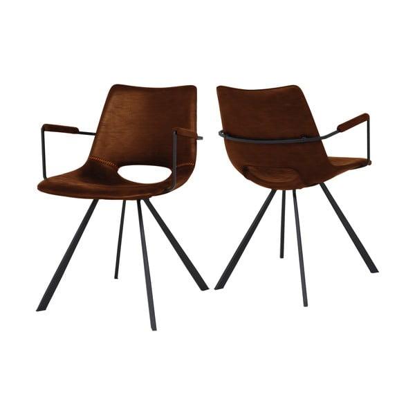 Hnědá jídelní židle s područkami Canett Coronas