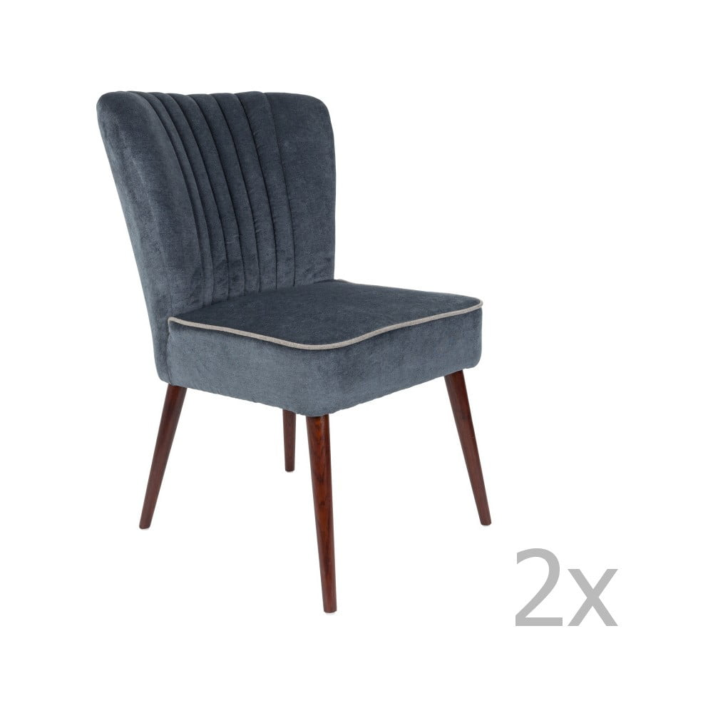Sada 2 tmavě šedých židlí Dutchbone Pinzon