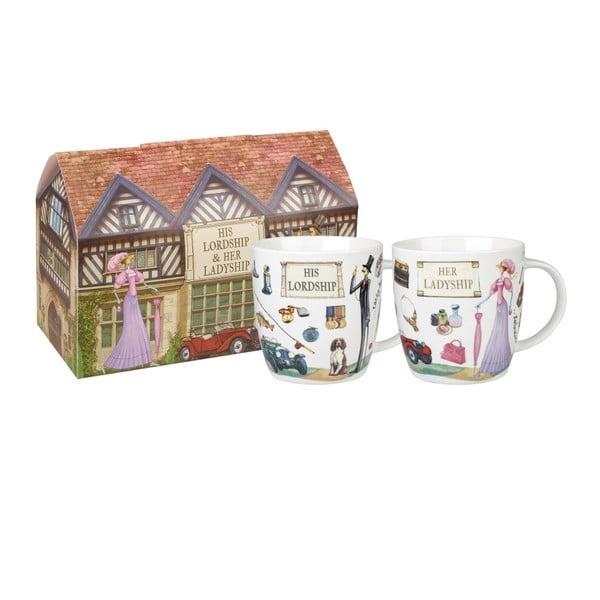 Sada 2 hrnčekov z kostného porcelánu Churchill China Ladyship and Lordship, 400 ml