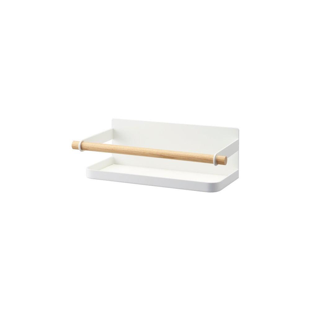 Bílá magnetická polička s detailem z bukového dřeva na kořenky YAMAZAKI Tosca