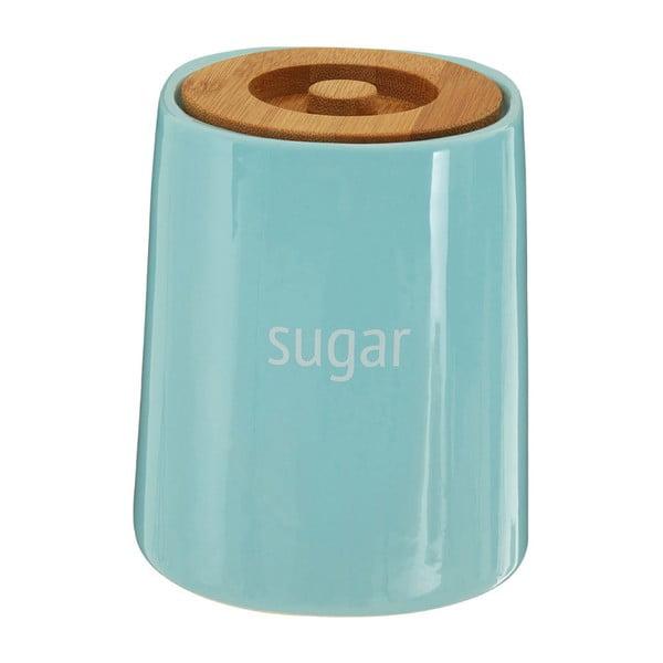 Modrá dóza na cukr s bambusovým víkem Premier Housewares Fletcher, 800 ml