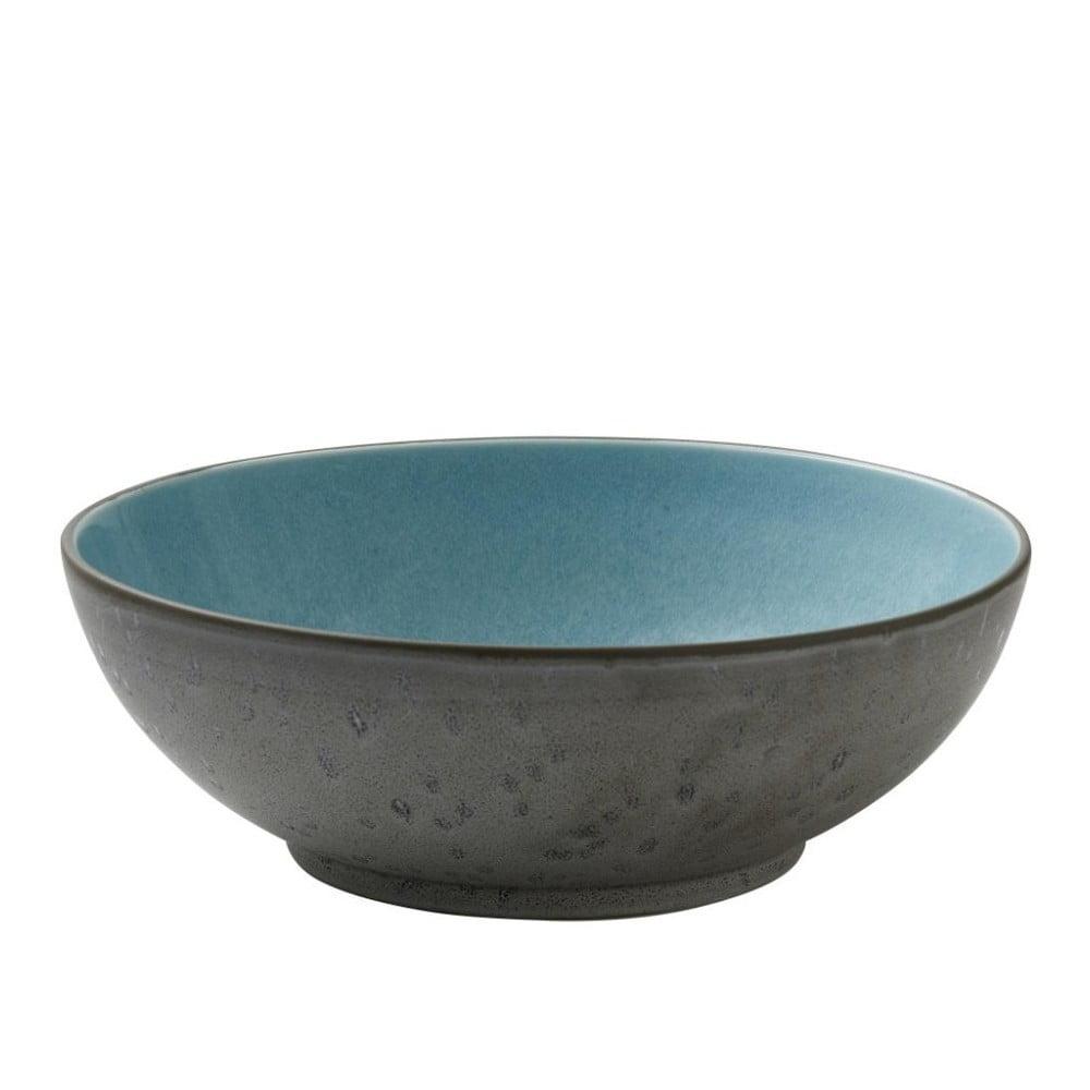 Šedá kameninová salátová mísa s vnitřní glazurou v bledě modré barvě Bitz Mensa, průměr 30 cm