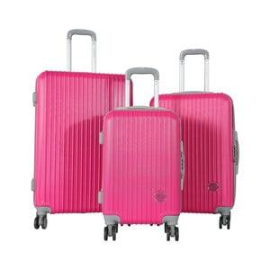 Sada 3 růžových cestovních kufrů na kolečkách Travel World Emilia