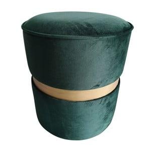 Zelený puf s nohami z borovicového dřeva Simla Velvet, ⌀40cm