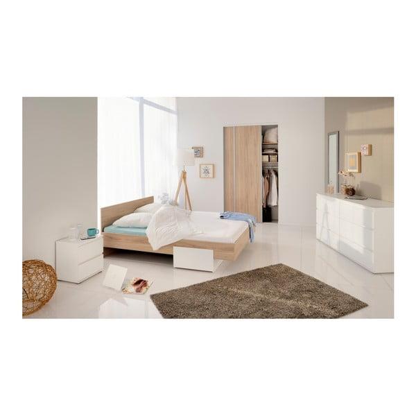 Bílý noční stolek se 2 zásuvkami Parisot Chambray