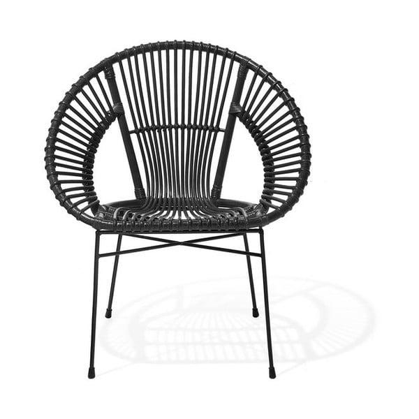 Czarny fotel rattanowy Monobeli Noemi