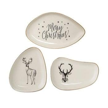 Set 3 tăvi decorative din ceramică Bloomingville Noel