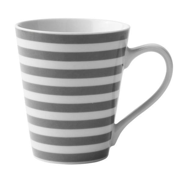 Šedo-bílý porcelánový hrnek KJ Collection Striped, 300 ml