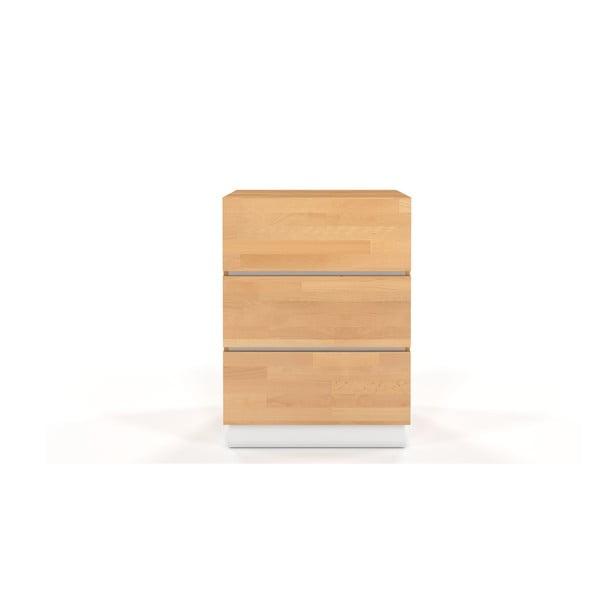 Komoda z bukového a borovicového dřeva s bílými detaily SKANDICA Finn 3S