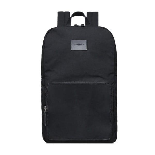 Černý batoh s koženými detaily Sandqvist Kim