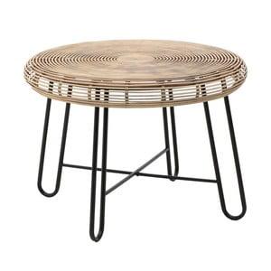 Dřevěný konferenční stolek s kovovými nohami InArt, ⌀ 76 x 54 cm