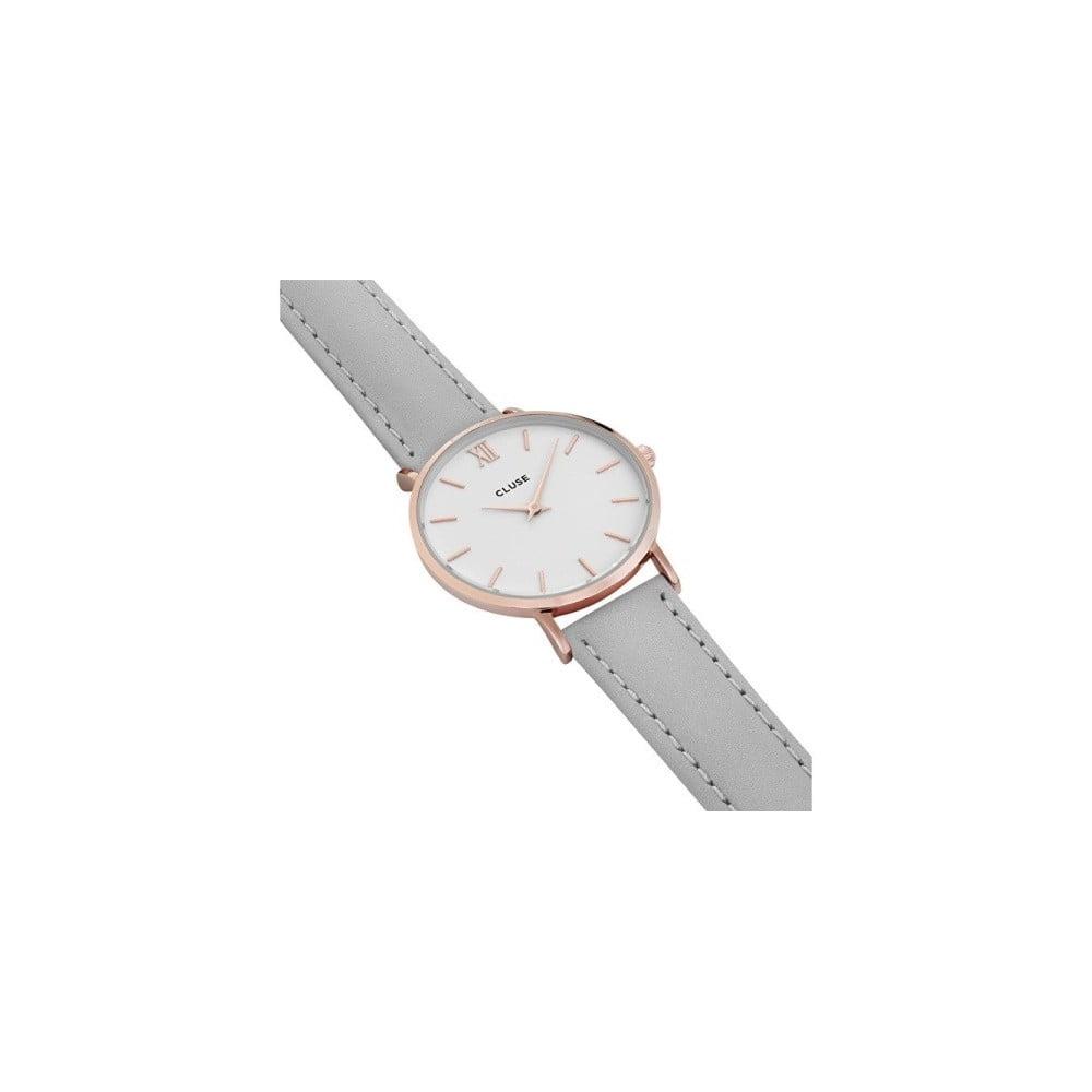 Dámské šedé hodinky s koženým řemínkem a detaily v růžovozlaté barvě Cluse  Minuit ... 636184978a