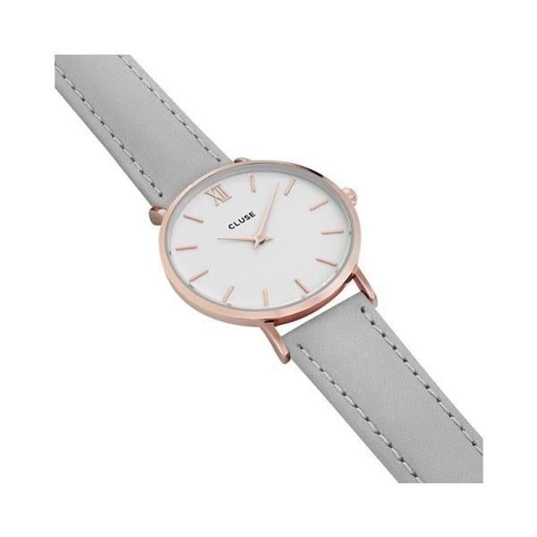 Dámské šedé hodinky s koženým řemínkem a detaily v růžovozlaté barvě Cluse Minuit