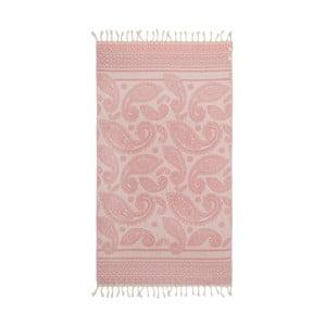 Růžová hammam osuška Begonville Paisley, 180x95cm
