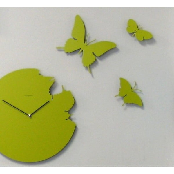 Designové hodiny Butterfly Green, 40 cm