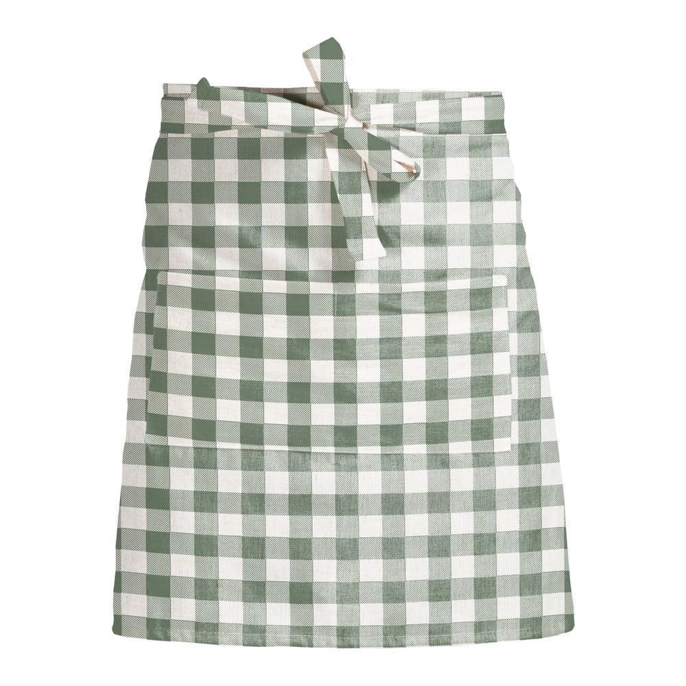 Látková zástěra Linen Couture Delantal de Lino Green Vichy