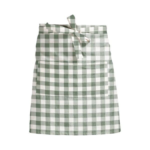 Látková zástera Linen Couture Delantal de Lino Green Vichy